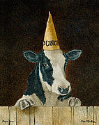 Black And White Painting Originals - Stupid Cow... by Will Bullas