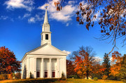 Autumn Scenes Metal Prints - Sturbridge Church in Autumn Metal Print by Joann Vitali