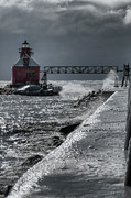 Blowing Snow Posters - Sturgeon Bay After the Storm Poster by Joan Carroll