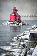 Shipping Posters - Sturgeon Bay Pierhead Poster by Joan Carroll