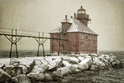 Winter Storm Posters - Sturgeon Bay Pierhead Storm Poster by Joan Carroll