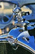Vintage Hood Ornament Painting Prints - Stutz badge Print by George Atsametakis