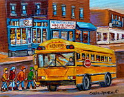 Montreal Streets Originals - St.viateur Bagel And School Bus Montreal Urban City Scene by Carole Spandau