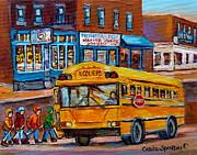 St.viateur Bagel And School Bus Montreal Urban City Scene Print by Carole Spandau