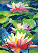 White Waterlily Paintings - Styalized Lily Pads 3 by Kathy Braud