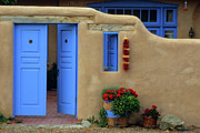 Entrance Door Framed Prints - Styling In Taos Framed Print by Bob Christopher