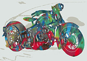 Mini Mixed Media Prints - Stylised motorcycle art sketch poster Print by Kim Wang