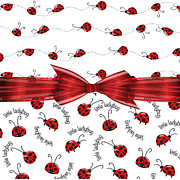 Shower Digital Art - Stylish Ladybugs by Debra  Miller
