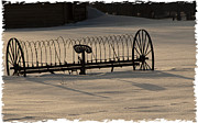 Steamboat Digital Art Prints - Stylized Antique Horse Drawn Hay Rake Print by Daniel Hebard