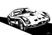 Ferrari 250 Gto Framed Prints - Stylized Ferrari 250GTO Framed Print by Tom Sweetser