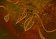 Brown And Green Prints - Stylized Leaves abstract art  Print by Ann Powell