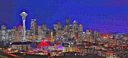 Stylized Art Prints - Stylized Seattle Skyline Print by Benjamin Yeager