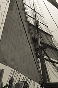 Wooden Ship Prints - Suare and Triangle Black and White Sepia Print by Scott Campbell