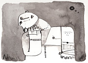 Primitive Art Drawings Prints - Sub Lunam No. 4 Print by Mark M  Mellon