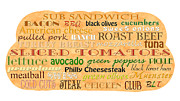 Tomatoes Mixed Media Prints - Sub Sandwich Typography Print by Andee Photography