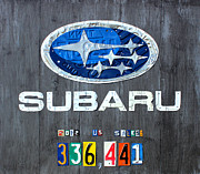 Logo Mixed Media Posters - Subaru Logo Art Celebrating 2012 USA Sales Totals Poster by Design Turnpike