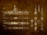 Blueprint Posters - Submarine Blueprint Vintage on Distressed Worn Parchment Poster by Design Turnpike