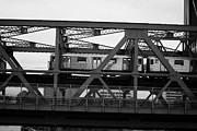 Harlem River Posters - subway train crossing the Broadway Bridge from Manhattan to the Bronx new york city Poster by Joe Fox