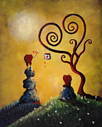 Surreal Landscape Painting Metal Prints - Such A Romantic by Shawna Erback Metal Print by Shawna Erback
