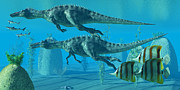 Prehistoric Digital Art - Suchomimus Dive by Corey Ford