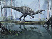 Large Scale Digital Art Prints - Suchomimus In A Prehistoric Marsh Print by Craig Brown