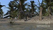 Running Digital Art - Suchomimus Running Along The Sho by Kostyantyn Ivanyshen