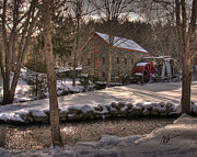 Sudbury River Posters - Sudbury Winter Grist Mill Poster by Mark Valentine