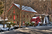 Sudbury Prints - Sudbury Wintery Grist Mill Print by Mark Valentine