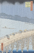 Woodcut Paintings - Sudden Shower on Ohashi Bridge at Ataka by Ando Hiroshige