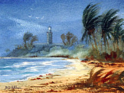 Stormy Weather Paintings - Sudden Storm Faro de Punta Tuna by Bill Holkham