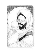 Christ Child Drawings Posters - Suffer Not the Little Children Poster by Gary Funk