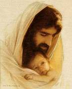 Christ Face Digital Art Prints - Suffer the Little Children Print by Ray Downing
