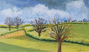 Signed Painting Framed Prints - Suffolk Spring Sky  Framed Print by Joan Thewsey