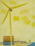 Lowestoft Paintings - Suffolk Wind Turbine Ness Pt by Lesley Giles