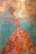 Twirling Mixed Media Prints - Sufi Print by Katy Shahandeh