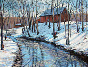 New England Snow Scene Painting Posters - Sugar Brook Poster by Gerard Natale