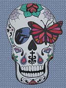 Sugar Skull Drawings Posters - Sugar Candy Skull Bubbles Poster by Karen Larter