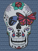 Sugar Skull Drawings Posters - Sugar candy Skull Denim Poster by Karen Larter