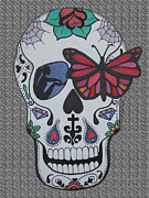 Sugar Skull Drawings Posters - Sugar Candy Skull Grey Poster by Karen Larter