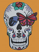 Sugar Skull Drawings Posters - Sugar Candy Skull Orange Poster by Karen Larter