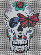 Sugar Skull Drawings Posters - Sugar Candy Skull Pattern Poster by Karen Larter
