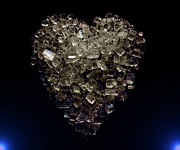 Super Macro Art Glass Art Posters - Sugar heart Poster by Denis  Los
