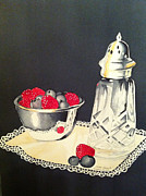Doilies Prints - Sugar Shaker with Berries and Lace Print by Brenda Brown