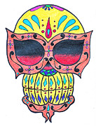 Sugar Skull Drawings Posters - Sugar Skull Poster by Amanda Machin