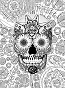 Folk Art Mixed Media Posters - Sugar Skull Bleached Bones - Copyrighted Poster by Christopher Beikmann