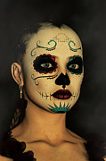 Liam Liberty Acrylic Prints - Sugar Skull - Day Of The Dead Face Paint Acrylic Print by Liam Liberty