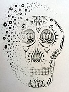 Sugar Skull Drawings Posters - Sugar Skull Poster by E White