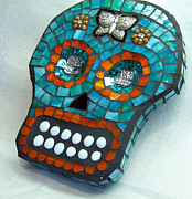 Turquoise Stained Glass Prints - Sugar Skull Print by Jenny Bowman