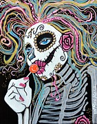 Mardi Gras Paintings - Sugar Skull Lollipop by Laura Barbosa