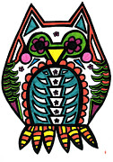 Colors Of Autumn Drawings Posters - Sugar Skull Owl Poster by Catherine Peters